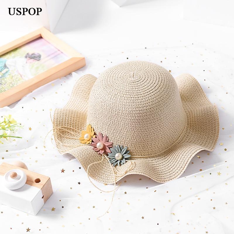 USPOP 2018 New arrival children straw sun hats girl soft flower straw hat cute girl wave wide brim beach hat high quality