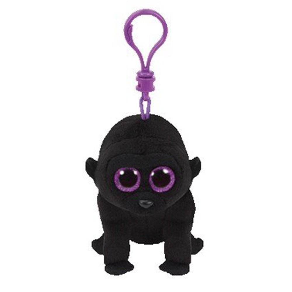 """Pyoopeo Original Ty Boos 4"""" 9cm George the Black Gorilla Clip Plush Keychain Stuffed Animal Collection Doll Toy with Heart Tag"""