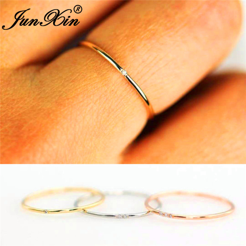 JUNXIN Thin-Ring Stacking Stone Crystal Filled Rose Gold Dainty 925-Silver Women Female