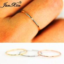 4cd81fa2f3df7e JUNXIN układania kobiet cienkie pierścionek z kamieniem 925 srebrny złota  róża wypełniony Dainty obrączki dla kobiet biały krysz.