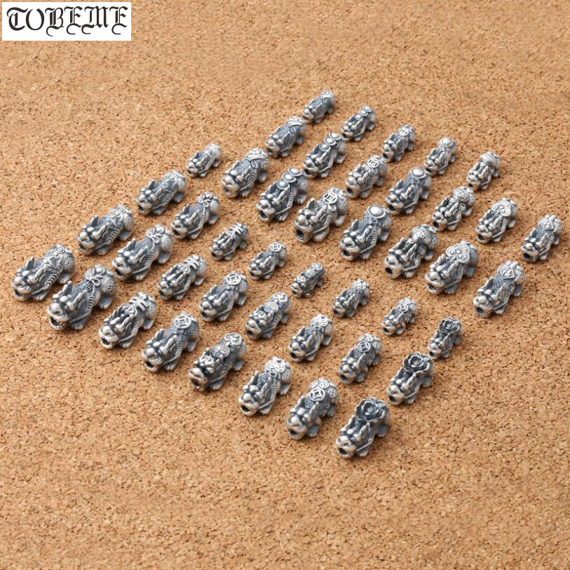 3D 100% 999 Silver Pixiu Beads Real Pure Silver Fengshui Pixiu Beads Wealth Pixiu Piyao Beads Lucky Symbol Bead DIY Bracelet