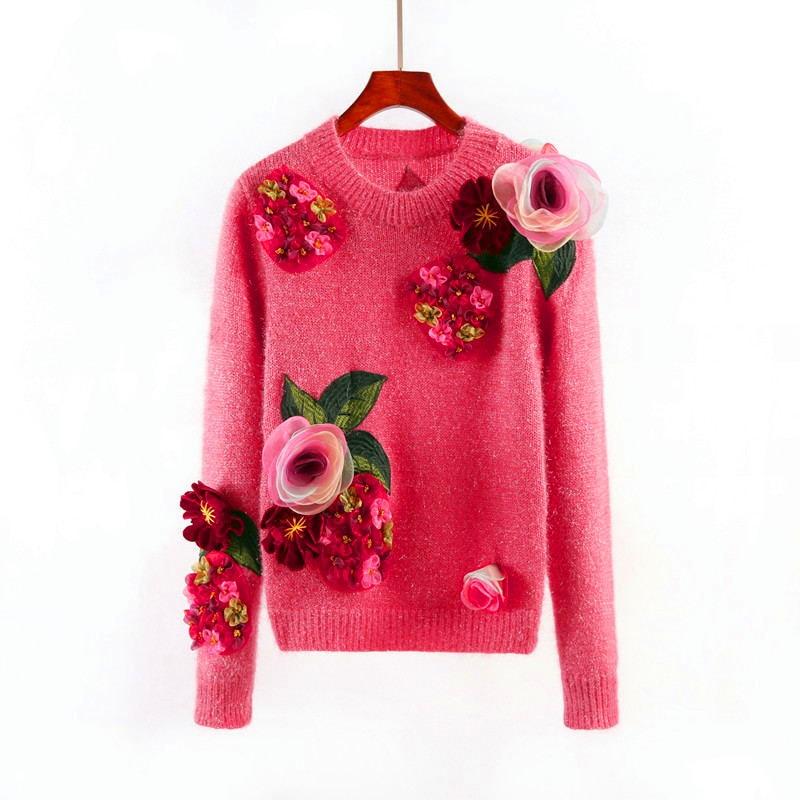 Новый модный свитер для Для женщин Осенняя зимняя верхняя одежда с круглым вырезом вязать пуловеры с длинным рукавом розовый свитер с цвето