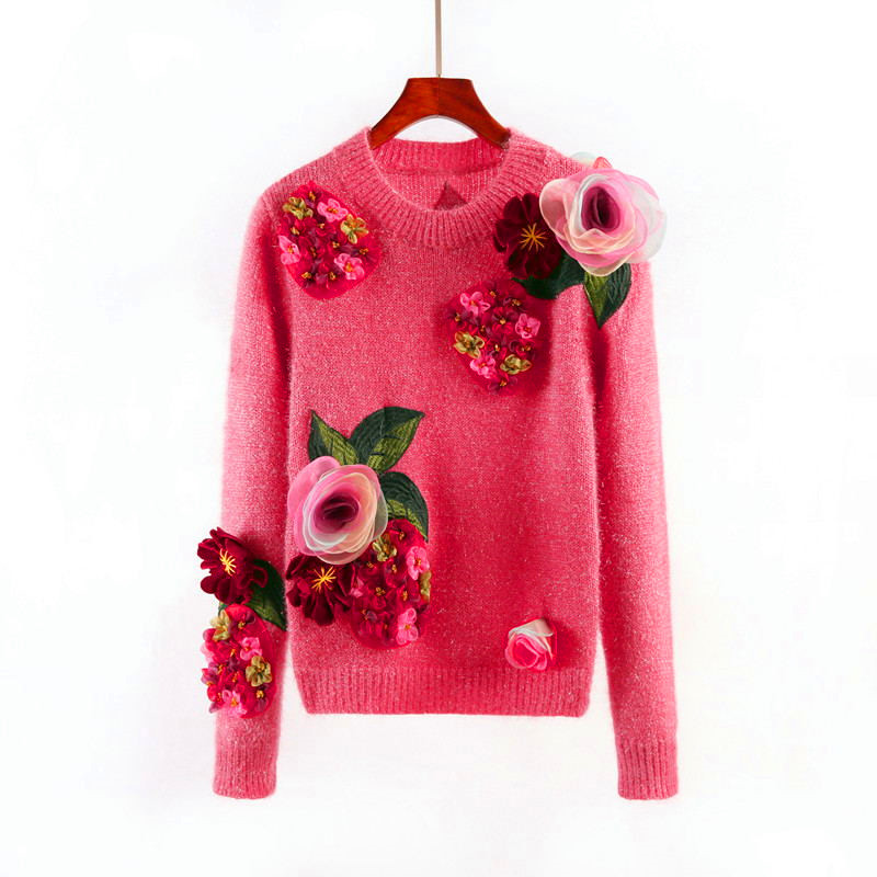 New Fashion Sweater for Women Autumn Winter Outerwear O-neck Knit Pullovers Long Sleeve Pink Sweater Flowers Appliques Sweater