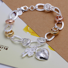 925 sterling silver fashion Jewerly 18k golden heart key charms for women Fine Jewerly Wholesale Bracelet Promotion