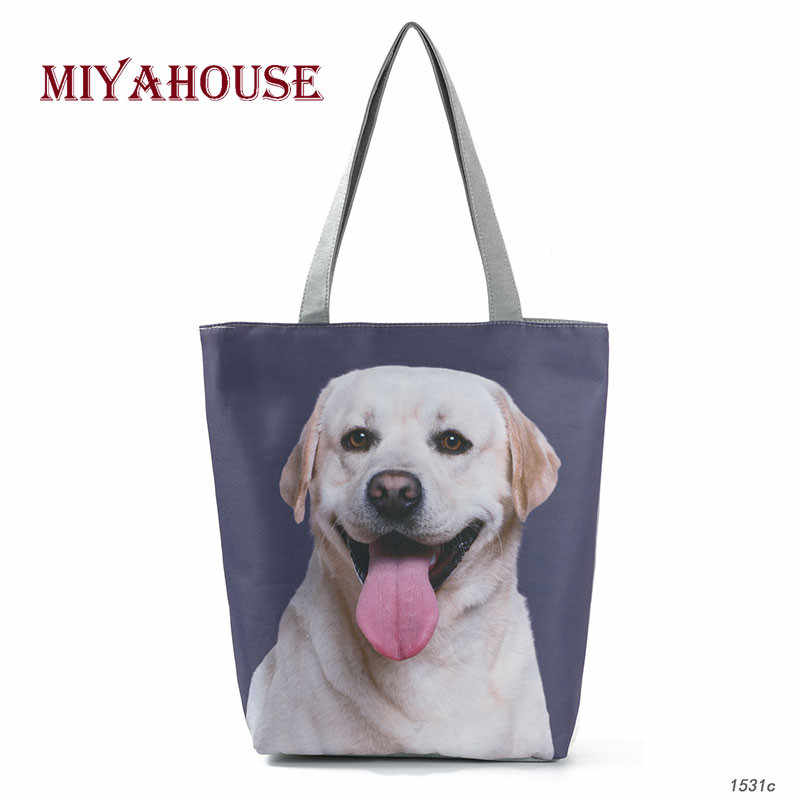Miyahouse Dogs Print Tote Female Canvas Bag Cartoon Design Summer Beach Bags For Female Daily Use Single Shoulder Shopping Bag