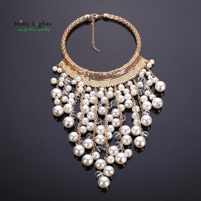 Mujeres grandes perla torques choker collar y colgantes súper cristal declaración granos del rhinestone de la joyería collar de cadena nueva