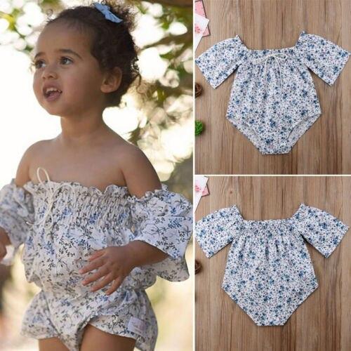 2018 New Princess Floral Romper Newborn Baby Girls Off-shoulder Jumpsuit Outfits 0-24M