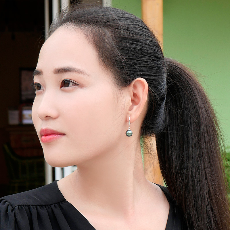 Ys 10 11mm Natural Black Tahitian Pearl Drop Earrings Mother Of Earring Design In From Jewelry Accessories On Aliexpress Alibaba