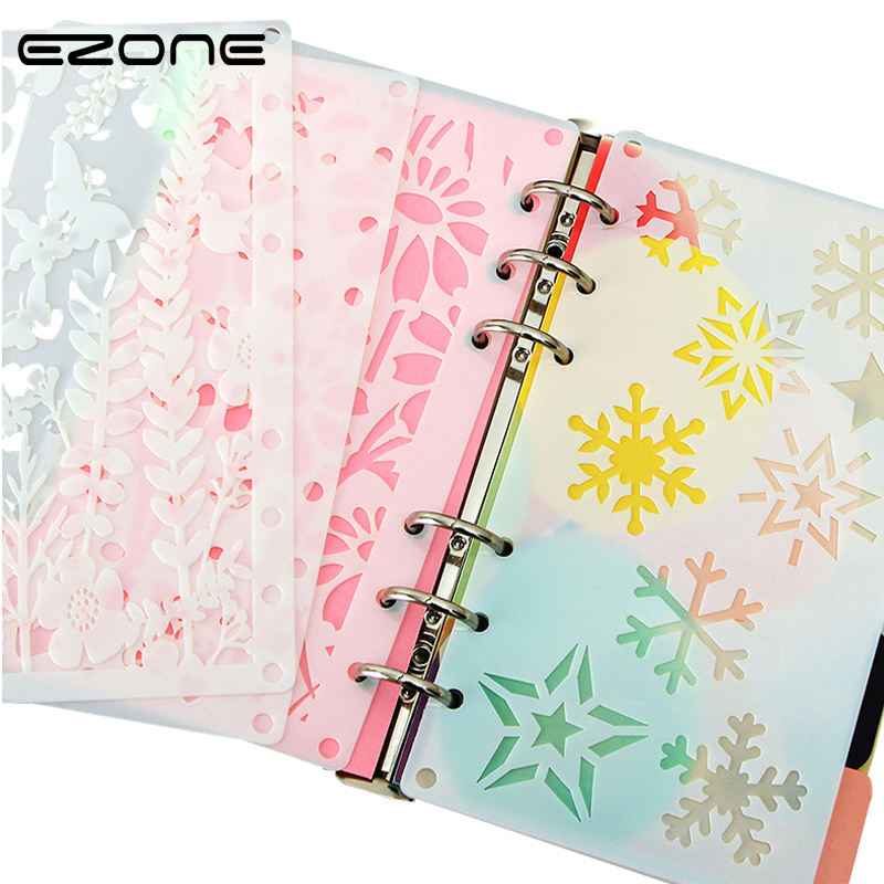 EZONE 2Pcs/Set Hollow Ruler A6 Loose-leaf Separating Tissue DIY New Drawing Template Ruler Multifunctional Kid Drawing Tools