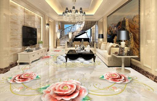 Custom made 3d stereo scopic wallpaper 3d flooring illusion marbles 3d flowers marbled mosaic tile stickers
