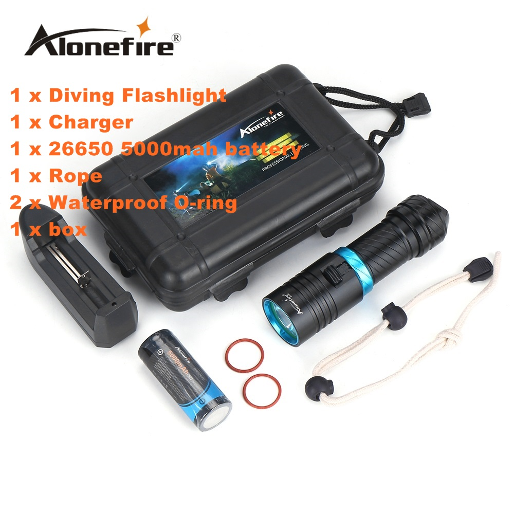 Alonefire DV30 2000 Lumens Cree XM-L2 LED Diving Flashlight Torch 100M Underwater Waterproof Scuba Lantern+26650 Battery+Charger 100m underwater diving flashlight led scuba flashlights light torch diver cree xm l2 use 18650 or 26650 rechargeable batteries