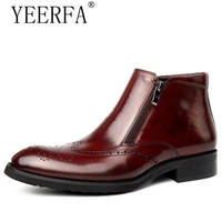 Mens Zipper Dress Boots Burgundy Genuine Leather Wingtip Brogue Shoes American Work Indian Boots Italian