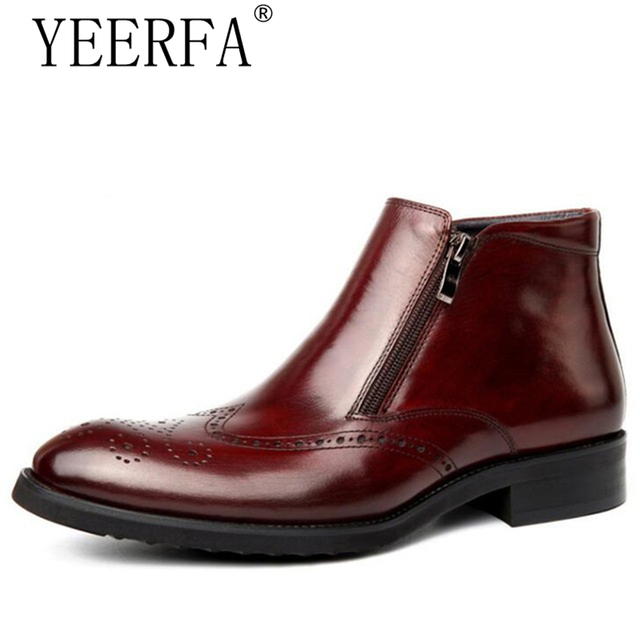 e7dda1a2949 mens zipper dress boots burgundy genuine leather wingtip brogue shoes  american work indian boots italian imported boots