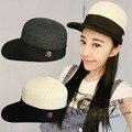 Moda patchwork boné de beisebol chapéu cap equestre de lã natural m feminino