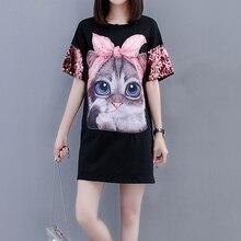 2018 Summer Sequined T shirt Dress Women Beading Kawaii Cat Print Mini Dresses  Plus Size Casual 38fd8a7f7005