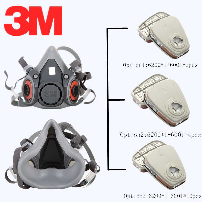 3M 6200 6001 Half Face Gas Mask Painting Spraying Respirator Carbon Filter Cartridge Organic Vapor Safety Work Filter Dust Mask3M 6200 6001 Half Face Gas Mask Painting Spraying Respirator Carbon Filter Cartridge Organic Vapor Safety Work Filter Dust Mask
