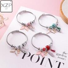 XZP Korean Simple Enamel Crystal Fishtail Beaded Bangle Creative Fashion Geometric Charm Bracelets for Women Girls Hand Jewelry