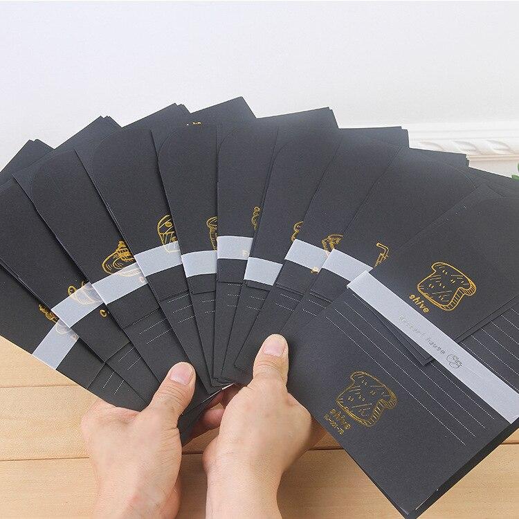 9pcs/Set 3 Envelopes + 6 Sheets Letter Paper Creative Dessert Black Series Envelope For Gift Korean Stationery