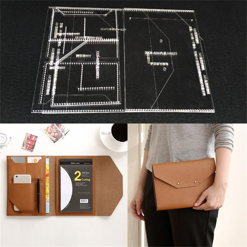 Handmamde Man Briefcase Acrylic Template Leather Pattern DIY Hobby Leathercraft Sewing Pattern Stencils 23x17x1cm