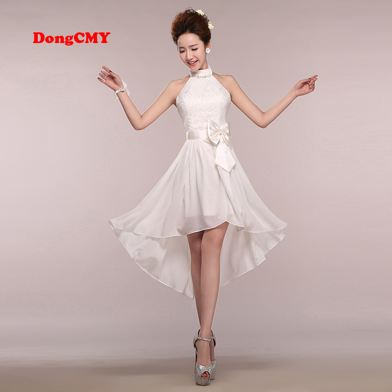 DongCMY 2017 new sleeveless Halter white color Ankle-Length bride girls   Bridesmaid     dresses