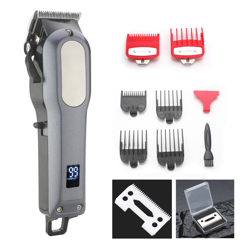 WMARK 2018 new design rechargeable LCD Professional Hair cutter Hair Trimmer 2000mAh Lithium battery 6000-6500rm hair clipper