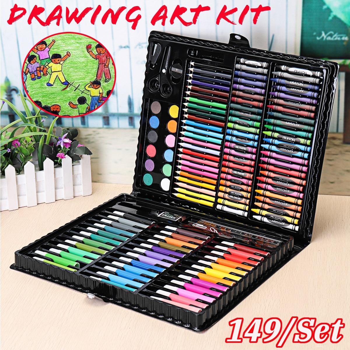 149pcs/set Paint Drawing Art Kit Complete Painting Supplies Wooden Box Set Storage Case 138 Piece Gift Pencil stanley complete painting