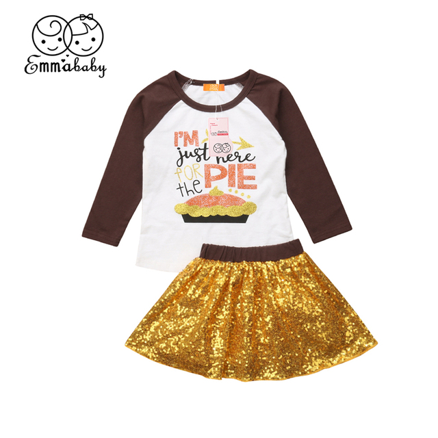 87dea0af732 2018 Baby Girls Clothes Set Thanksgiving Outfit 2Pcs Toddler Kids Autumn  Long Sleeve T-Shirt Top+Sequins Skirt Party Clothing