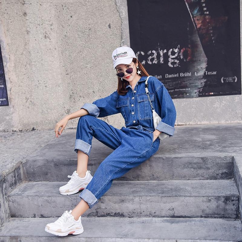 Denim Travail En Décontracté Étudiants À Combinaison Manches Vêtements Fit light Loose longueur Beige Salopette green xl Femelle Pantalon Jeans Blue S Blue Femmes De Cheville dark Longues Mode x8AwHnPq8