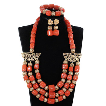 Fantastic Wedding Bib Nigerian Coral Beads Jewelry Set Original Real Coral Bead for Brides African Women Jewelry Set CNR395