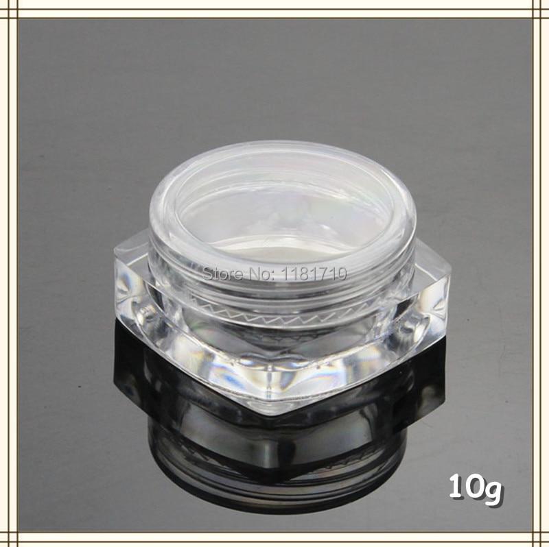 48pcs Lot 10g Square Plastic Jar 10ml Empty Clear Cream