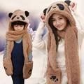 Inverno Hat Scarf Glove 3 Conjunto Engraçado Algodão Feminino Quente mulheres Menina Panda Encantador Veados Luva Confortável Cap Set Conjunta adulto