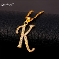 Initial K Letter Pendants Necklaces Women Men Personalized Gift Alphabet Jewelry Platinum 18K Real Gold Plated