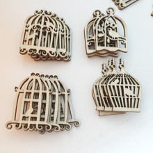 50pcs/pack Kids Hanging Pendant Accessories Album DIY Crafts Party Scrapbooking Gifts Photo Ornament Wooden Bird Cage Home Decor(China)