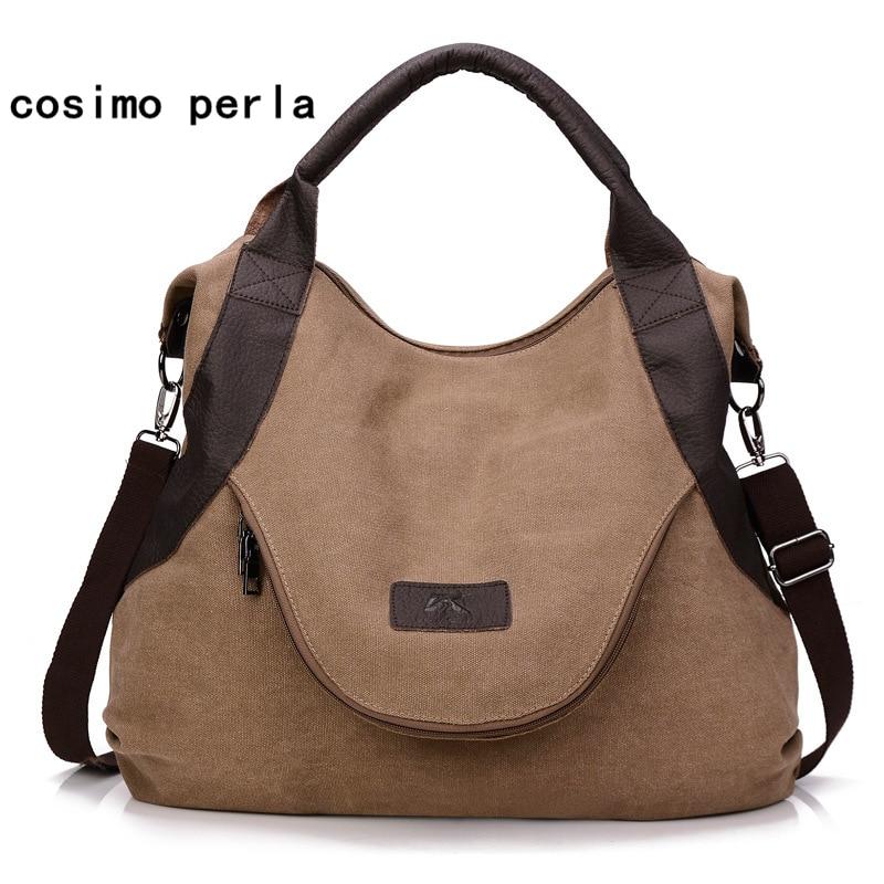Fashion Style Designer Casual Totes Big Canvas Shoulder Bags Large Capacity Women Hobo Handbags Retro Messenger Bag Female Bolso
