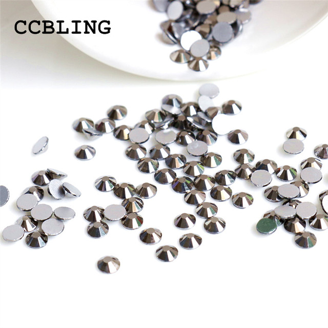 CCBILNG ss3 -ss30 Flat Back Jet Hematite 3d Nail Art crystal decorations ) Non  Hot Fix Glue on rhinestones for nails stone 43f9509a1bfb