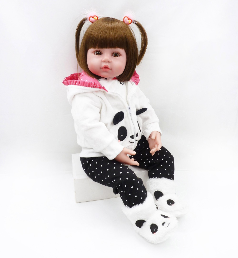 NPK Boneca 19 polegada 48 cm corpo de Vinil Silicone bebê Reborn Bonecas Reborn Bebe Realista Boneca Da Moda Newborn Bebe Realista boneca macia
