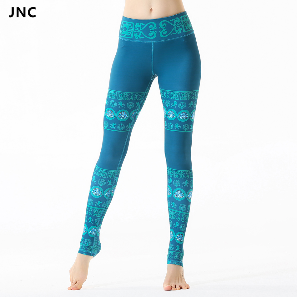 Chinese Style Turquoise Kisame Printed Yoga Leggings For Women Workout Elastic Running Gym Fitness Pattern Sports Leggings JNC86