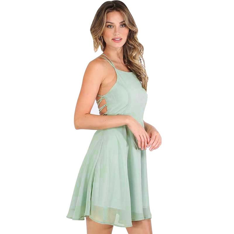 snowshine YLI Womens Party Cocktail Backless Bandage Sleeveless Mini Dress free shipping