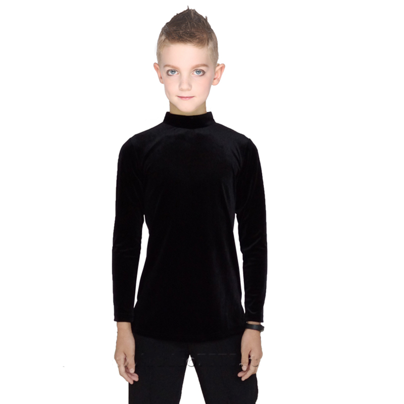 2018 Sexy Latin Dance Tops for Children Black Fabric Shirt Ballroom Cheap Boy Male Professional Chacha