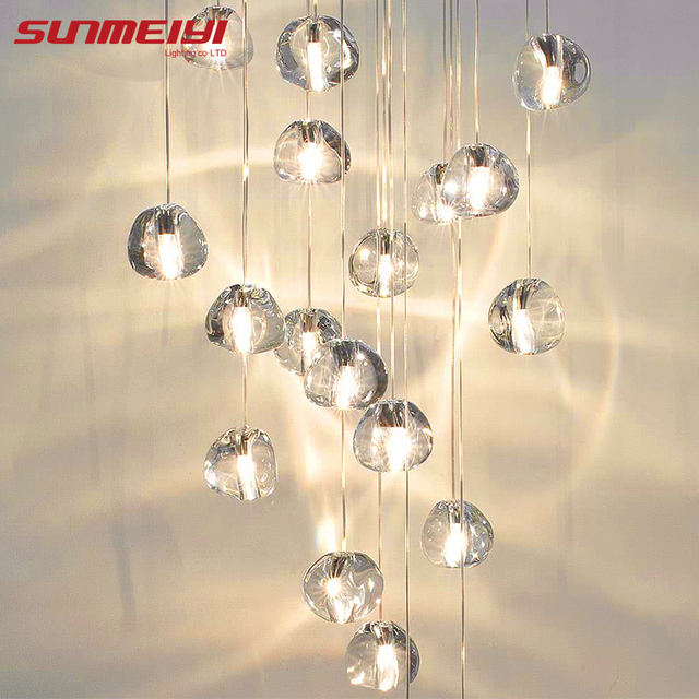 Glass LED Pendant Stair Lights Living room Cafe Bedroom Lighting lampara colgante cocina Fixtures Nordic Loft Hanging Lamp