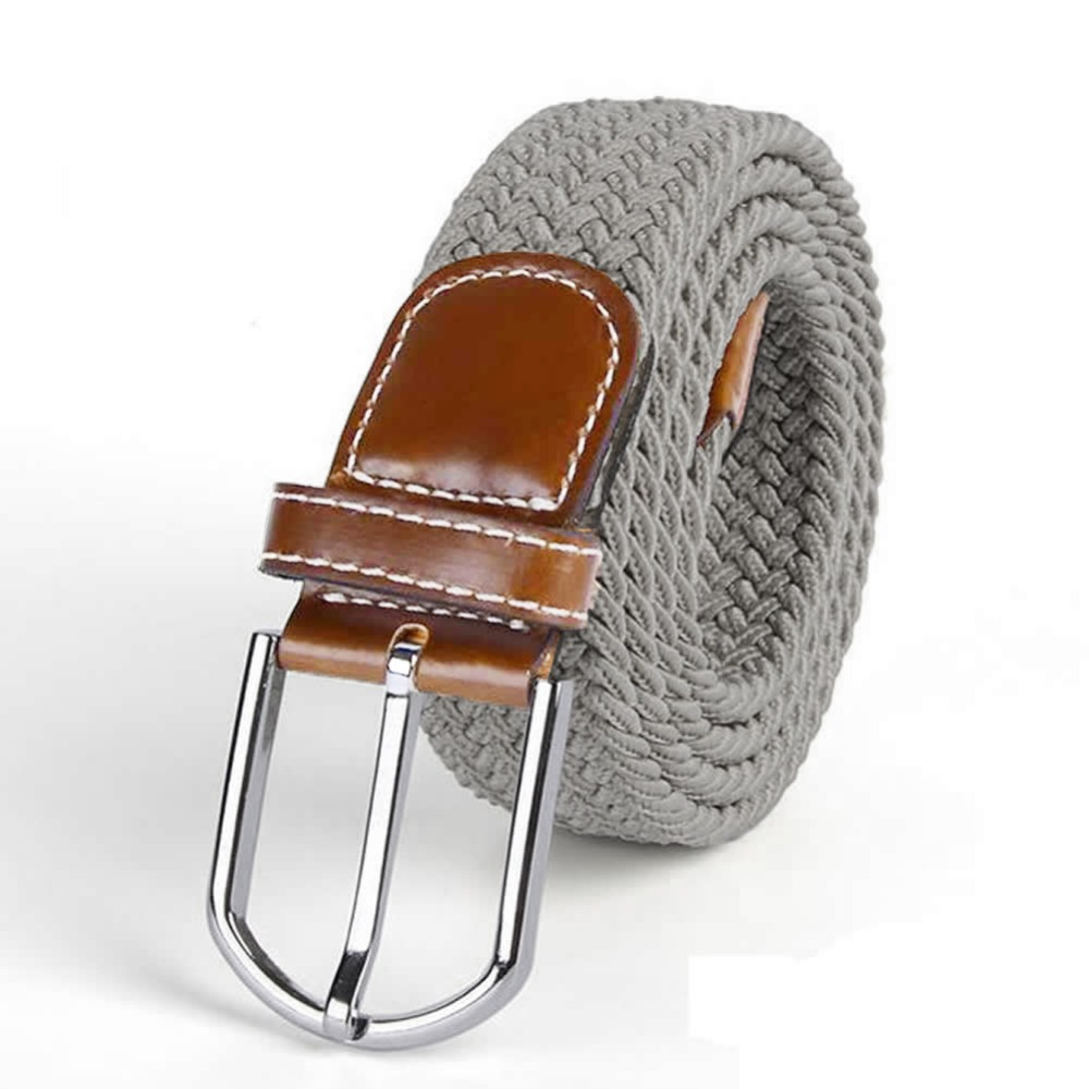 Men Leather Braided Elastic Stretch Cross Buckle Casual   Belt   Waistband