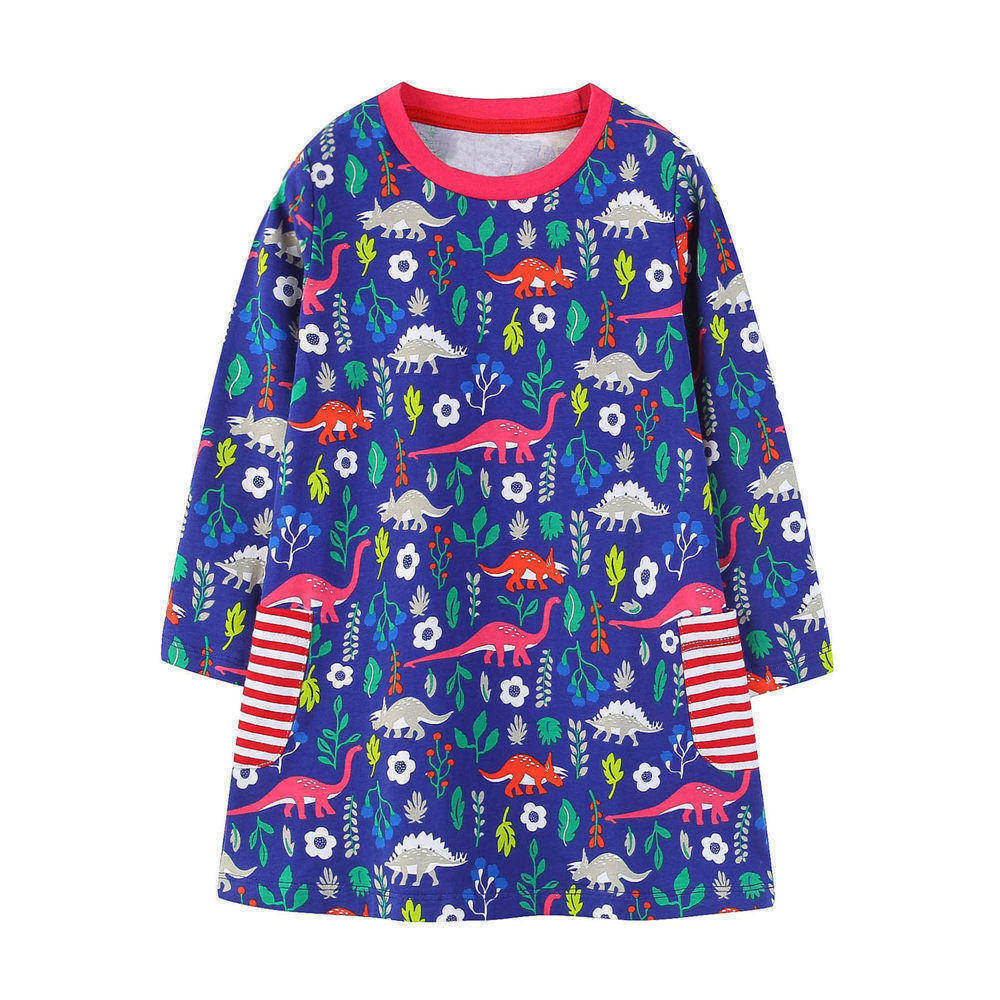 все цены на Littlemandy Girls Dress Dinosaur 2018 Autumn New Princess Dresses For Girl Kids Baby Girl Clothes Long Sleeve Baby Girl Tunic