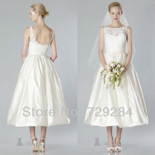 Delicate simple bateau a line bridal gown lace tea length for Simple tea length wedding dresses