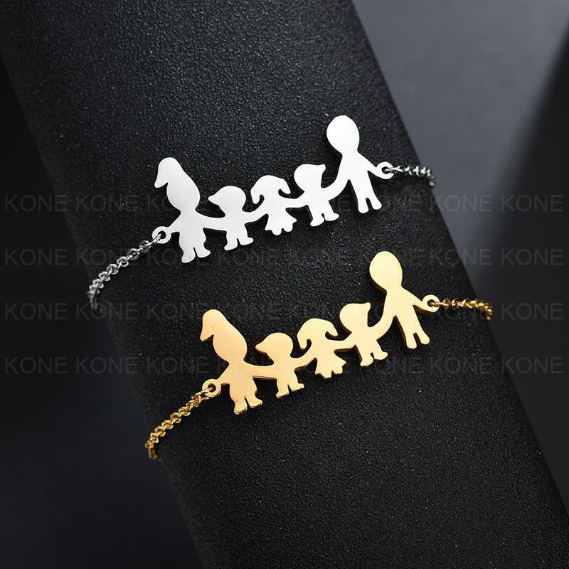 UZone ครอบครัวเรียบง่ายเครื่องประดับสร้อยข้อมือสแตนเลสพ่อแม่เด็กลูกสาว Chain สร้อยข้อมือผู้หญิง