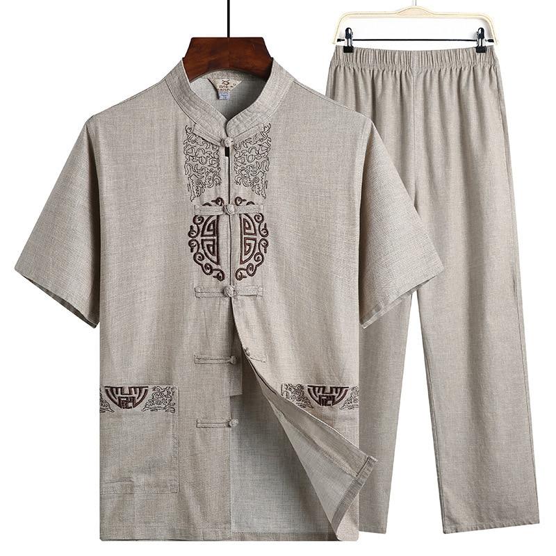 Sheng Coco Hanfu Linen Shirts Men Wushu Traditional Chinese Pants Qing Dynasty Clothing For Pantalon Wing Chun Roupa Oriental
