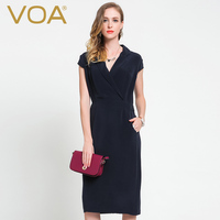 VOA V Black Collar Solid Heavy Silk Dress Female 2016 Spring Autumn Women S New Slim