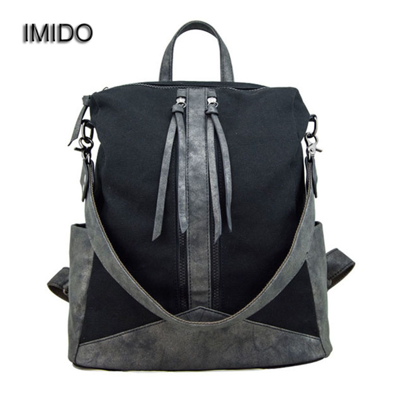 IMIDO 2017 Fashion Women Canvas Backpacks school bags for teenagers large capacity travel backpack bookbag blue