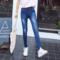 2016 Fall New Korean Womens Hole Ripped Jeans Elastic Denim Pants Slim Tassels Jean Pencil Pants Skinny Jeans Leggings For Women
