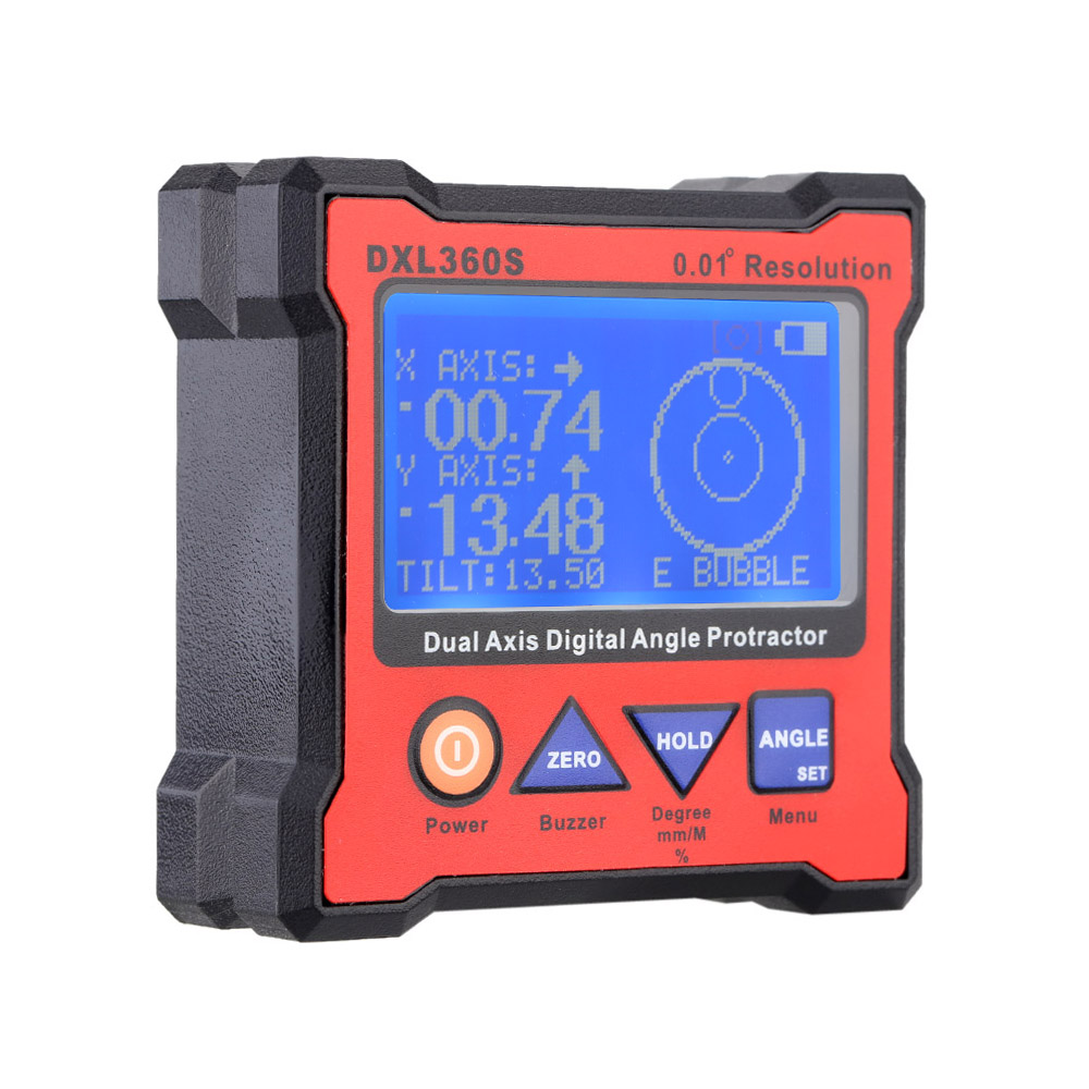 High-precision DXL360S Dual Axis Digital Angle Protractor Dual-axis Digital Display Level Gauge with 5 Side Magnetic Base 0 225 degree digital angle level meter gauge 400mm 16inch electronic protractor free shipping