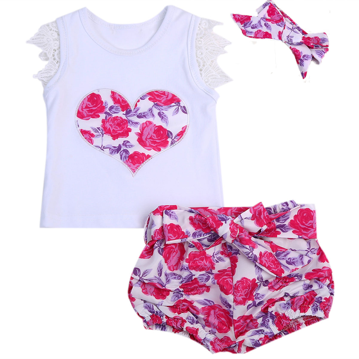 0-3T Baby Clothing Set Toddler Kids Baby Girls Heart Shaped Outfit Clothes Lace T-shirt Tops+Floral Shorts +headband 3PCS 3pcs outfit infantil girls clothes toddler baby girl plaid ruffled tops kids girls denim shorts cute headband summer outfits set